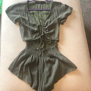 Short Sleeve Romper with waist cut out & top tie